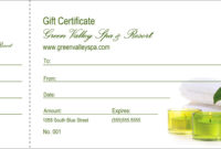 004 Spa Gift Certificate Redesigned Product Front Template with Amazing Spa Day Gift Certificate Template