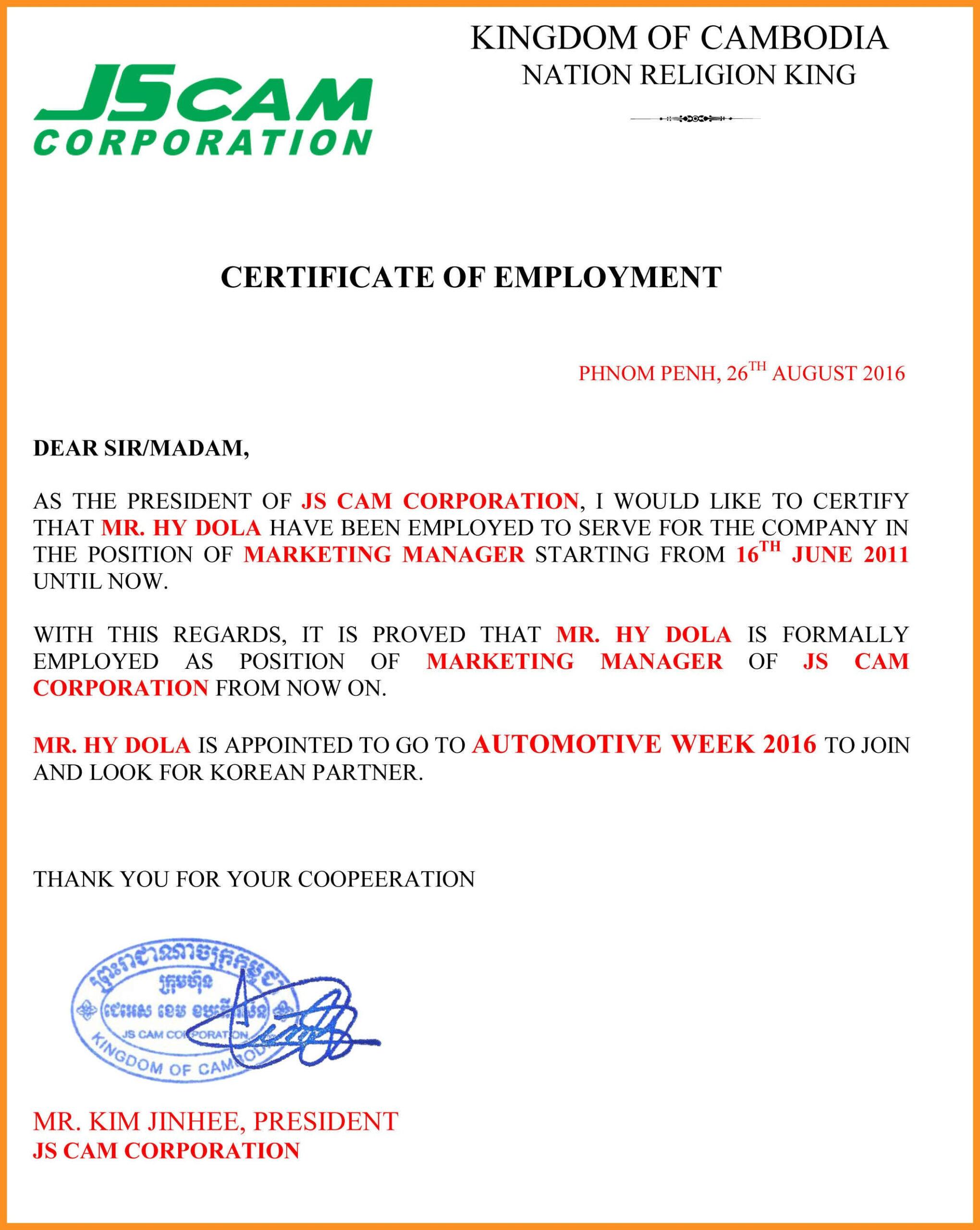 037 Employement Certificate Of Employment Template In with Template Of Certificate Of Employment