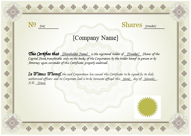 10 Best Free Stock Certificate Templates Word Pdf in Corporate Share Certificate Template