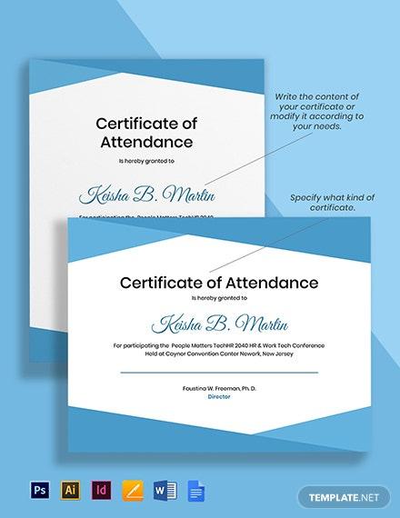 10 Free Attendance Certificate Templates  Microsoft Word within Free Certificate Of Attendance Conference Template