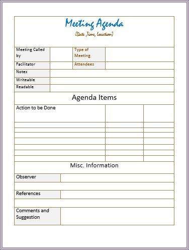 10 Free Formal Meeting Agenda Templates  Ms Office Guru within Agenda Template For Nonprofit Board Meeting