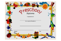 10 Free Preschool Diploma Certificate Templates within Free Kindergarten Completion Certificate Templates