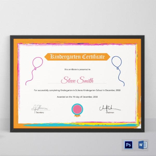 10 Kindergarten Certificate Templates  Illustrator for Pages Certificate Templates