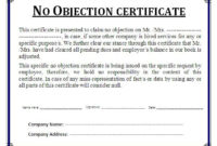 10 No Objection Certificate Templates  Word Template throughout Quality Social Studies Certificate Templates