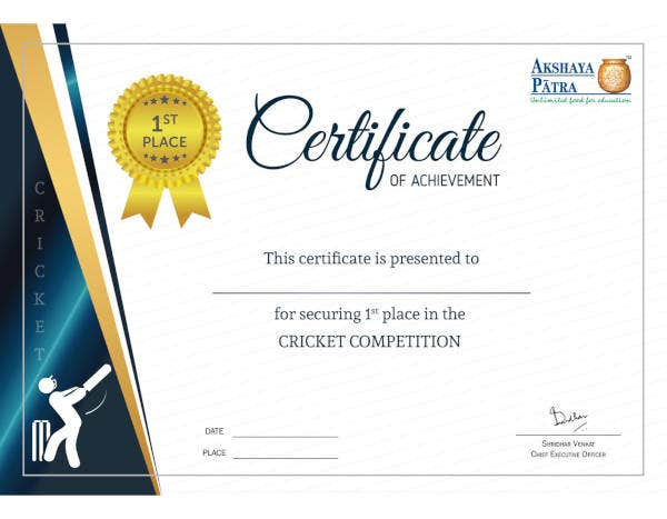 10 Sample Achievement Certificate Templates  Free throughout Printable Word Certificate Of Achievement Template