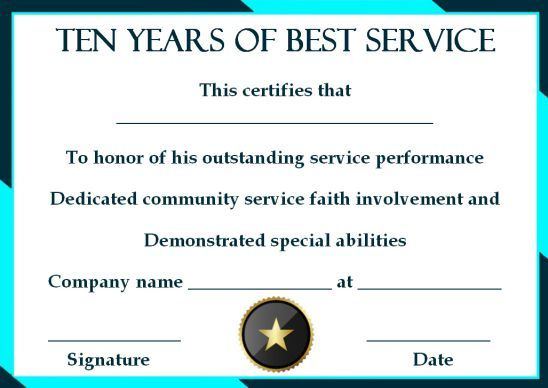 10 Years Service Award Certificate 10 Templates To Honor within Congratulations Certificate Template 10 Awards