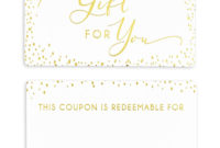 100 Counts A Gift For You Coupon Voucher Cards With Gold throughout Baby Shower Gift Certificate Template