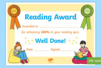100 Reading Quiz Certificate Teacher Made regarding Super Reader Certificate Templates