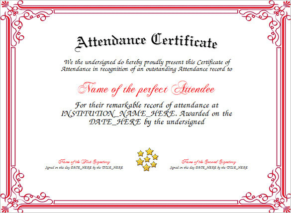 11 Attendance Certificate Template Free Download within Perfect Attendance Certificate Template Editable