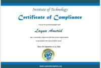 11 Free Compliance Certificate Templates  Microsoft Word regarding Best Certificate Of Compliance Template