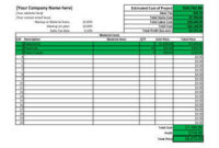11 Job Estimate Templates And Work Quotes Excel/Word inside Awesome Project Cost Estimate And Budget Template