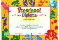 11 Preschool Certificate Templates  Pdf In 2020 with Kindergarten Diploma Certificate Templates 10 Designs Free