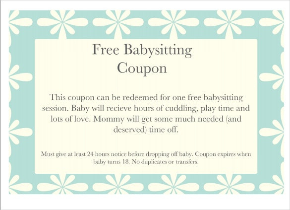 12 Baby Sitting Coupon Templates  Psd Ai Indesign pertaining to Babysitting Gift Certificate Template