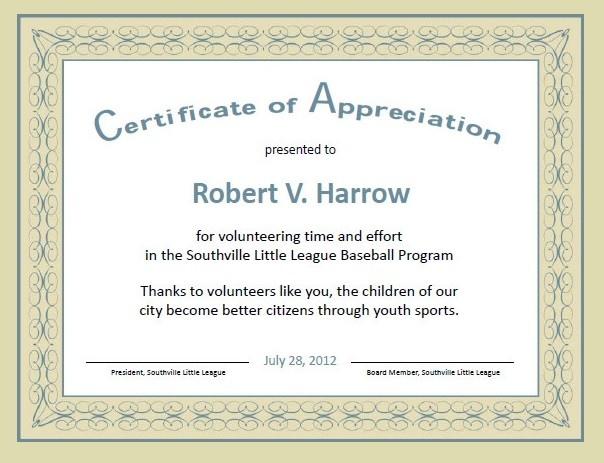 12 Certificate Of Appreciation Templates  Free Word intended for Certificate Of Appreciation Template Doc