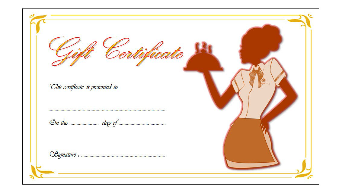 12 Free Printable Restaurant Gift Certificate Templates within Awesome Free Printable Certificate Of Promotion 12 Designs