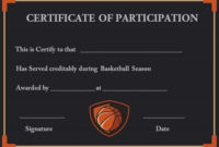 13 Best Basketball Participation Certificate Images On regarding Free Basketball Camp Certificate Template