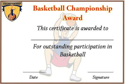 13 Best Basketball Participation Certificate Images On regarding Netball Participation Certificate Editable Templates