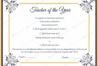 13 Best Teacher Of The Year Award Certificate Templates with Quality Best Teacher Certificate