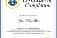 13 Certificate Of Completion Templates  Excel Pdf Formats inside Certificate Of Completion Template Word