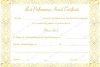 14 Best Best Performance Award Certificate Templates with regard to Amazing Best Performance Certificate Template