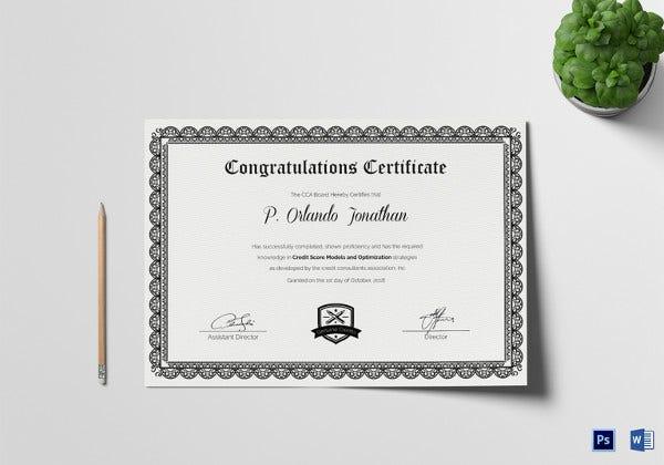14 Congratulations Certificate Templates  Free Sample for Congratulations Certificate Template