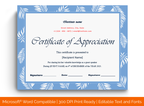 14 Editable Certificate Of Appreciation For Guest Speaker inside Template For Certificate Of Appreciation In Microsoft Word