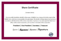 14 Share Certificate Templates  Free Printable Word with Amazing Template Of Share Certificate