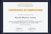14 Training Completion Certificate Designs  Templates pertaining to Awesome Class Completion Certificate Template