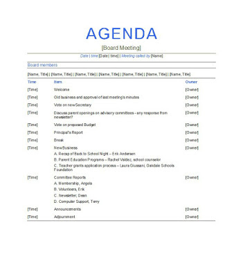 15 Free Business Meeting Agenda Templates  Project for Template For Business Meeting Agenda