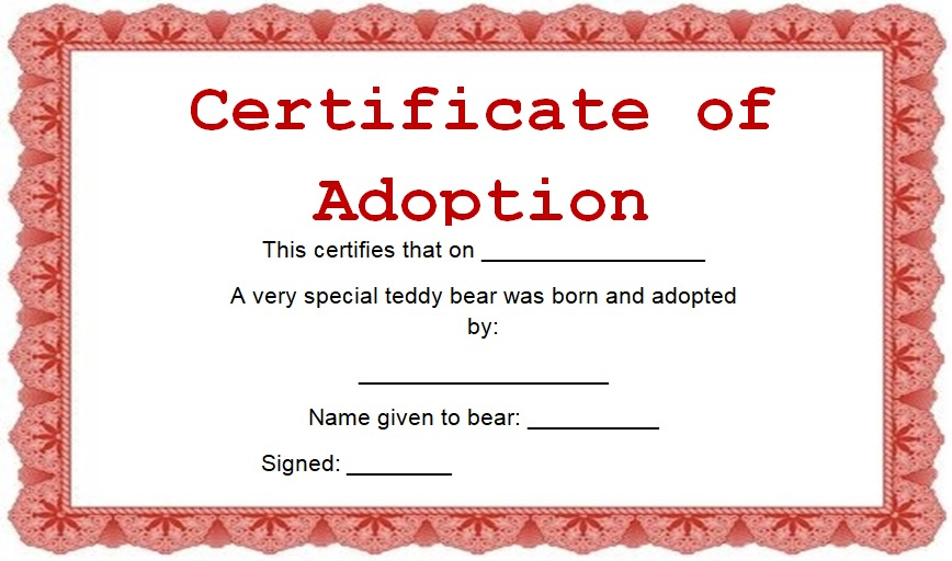 15 Free Printable Real  Fake Adoption Certificate Templates inside Best Child Adoption Certificate Template
