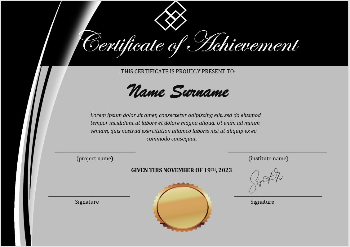 16 Free Achievement Certificate Templates  Ms Word Templates for Awesome Word Template Certificate Of Achievement
