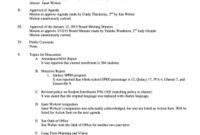 18 Printable Sample Minutes Of The Meeting In School Forms for School Board Agenda Template