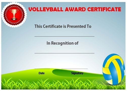 19 Best Volleyball Certificates Free Printables Images On throughout Soccer Certificate Template Free 21 Ideas