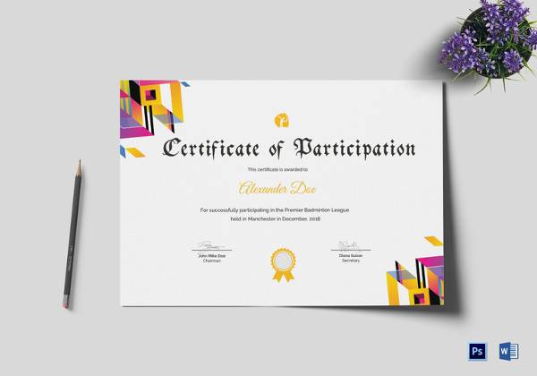 19 Sample Participation Certificates  Sample Templates throughout Awesome Tennis Participation Certificate