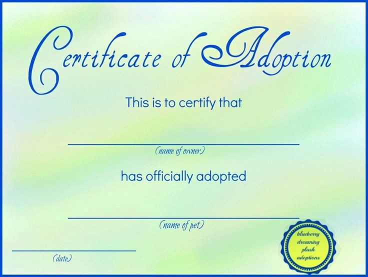 20 Adopt A Pet Certificate Template ™ In 2020  Adoption with regard to Awesome Dog Adoption Certificate Free Printable 7 Ideas
