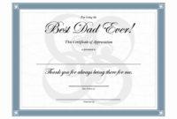 20 Best Dad Ever Certificate ™ In 2020  Best Dad inside Best Dad Certificate Template