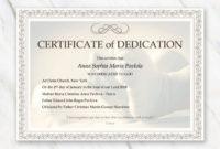 20 Certificate Of Dedication Template ™ In 2020 With regarding Honor Certificate Template Word 7 Designs Free