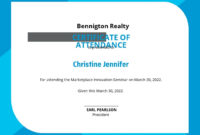 20 Free Attendance Certificate Templates Customize inside Certificate Of Attendance Conference Template