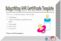 20 Free Babysitting Certificate Template ™ In 2020  Gift with regard to Free Babysitting Gift Certificate Template