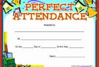 20 Perfect Attendance Award Wording ™  Dannybarrantes in Perfect Attendance Certificate Template Free