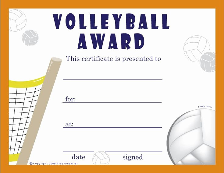 20 Volleyball Certificate Template Free ™  Dannybarrantes inside Awesome Volleyball Certificate Templates