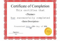 21 Certificate Of Completion Templates  Certificate Of within Certificate Of Completion Word Template