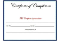 21 Certificate Of Completion Templates  Free Printable intended for Free Completion Certificate Templates For Word