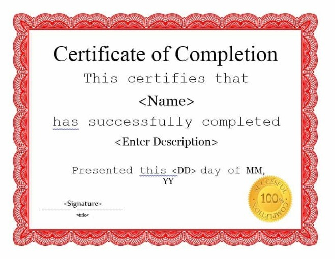 21 Certificate Of Completion Templates  Free Printable pertaining to Best Certificate Template For Project Completion