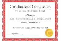 21 Certificate Of Completion Templates  Free Printable throughout Completion Certificate Editable