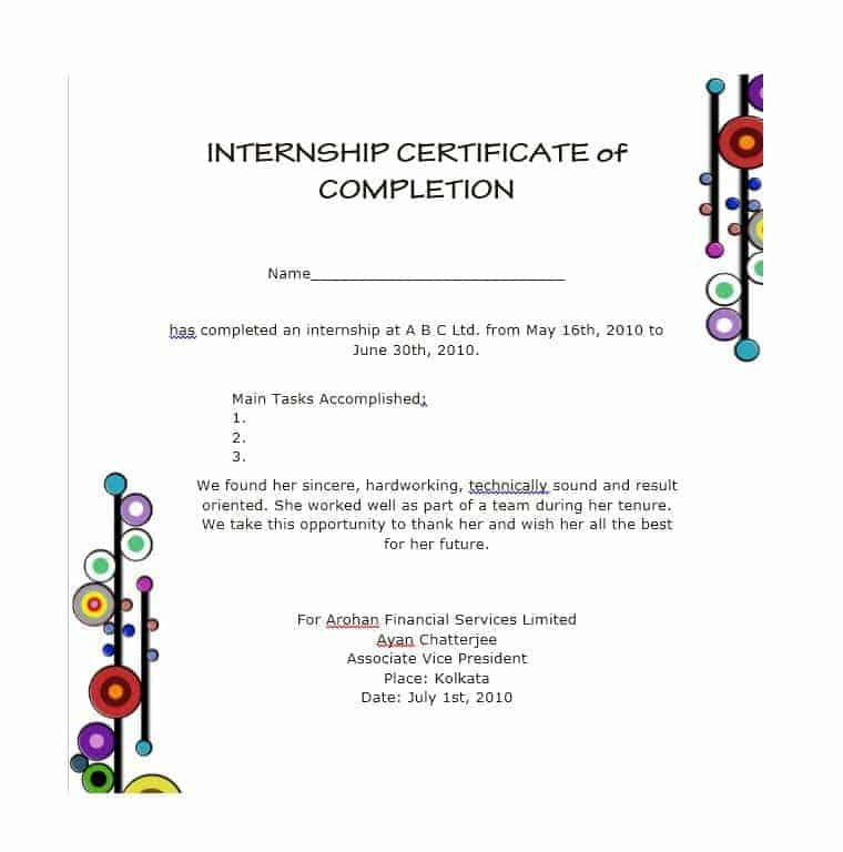 21 Free 42 Free Certificate Of Completion Templates within Printable Free Certificate Of Completion Template Word