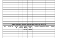 22 Printable Vehicle Maintenance Log Forms And Templates with regard to Machinery Maintenance Log Template