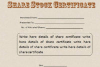 22 Stock Certificate Templates  Word Psd Ai Publisher intended for Amazing Template Of Share Certificate
