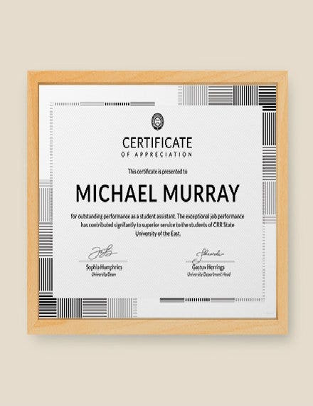 23 Appreciation Certificate Templates  Word Psd Ai with Anniversary Certificate Template Free