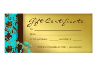 232 Gift Certificates Salon Spa Gold Floral  Zazzle pertaining to Awesome Small Certificate Template